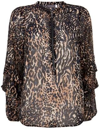 Mint Velvet Faye Animal Print Zip Front Blouse - Neutral