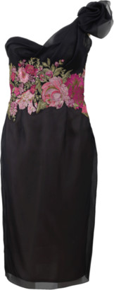 Marchesa Hand-Draped Cocktail Dress