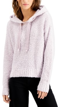 Hooked Up by IOT Juniors' Fluffy-Knit Hooded Sweater