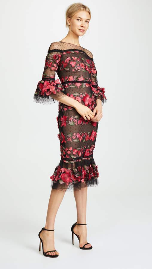 Marchesa Fringe Floral Cocktail Dress