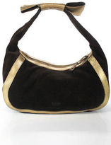 Moschino Cheap & Chic Brown Gold Suede Zip Up Bow Detail Shoulder Bag Medium