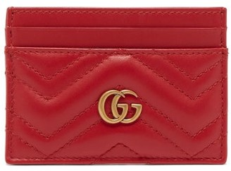 Gucci Gg Marmont Leather Cardholder - Womens - Red