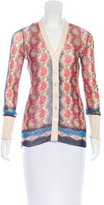 Jean Paul Gaultier Paisley Print Knit-Trimmed Cardigan