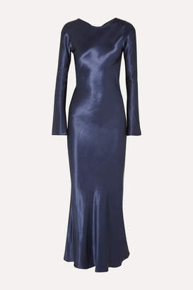The Line By K - Esme Open-back Satin Maxi Dress - Navy