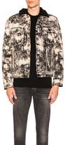 Balmain Marble Print Denim Jacket in Abstract,Black,White.
