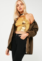 Missguided Petite Exclusive Gold Metallic Racer Tank Top