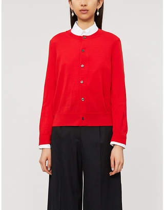 Comme des Garcons Fitted cropped round-neck wool cardigan