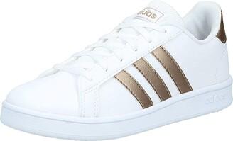 adidas Kids' Grand Court K Sport Shoes Ftwwht/Coppmt/Glopnk 1 UK