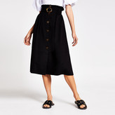 River Island Black belted structured midi skirt
