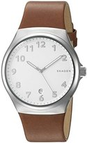 Skagen Men's 'Sundby' Quartz Stainless Steel and Brown Leather Casual Watch (Model: SKW6269)
