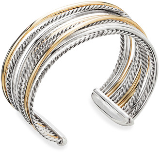 David Yurman DY Crossover Cuff Bracelet w/ 18k Gold