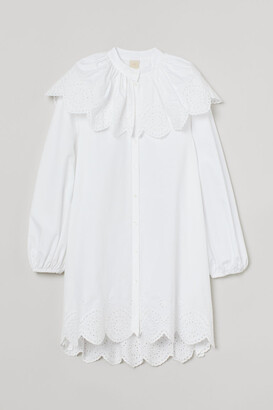 H&M Eyelet-embroidery-detail Tunic - White