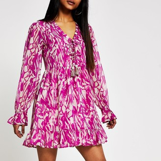 River Island Petite pink printed mini smock dress