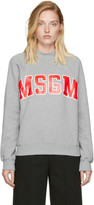 MSGM Grey Mock Neck Logo Sweatshirt