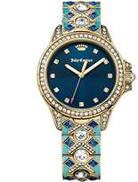 Juicy Couture Malibu Women's Quartz Watch with Blue Dial Analogue Display and Gold Rose Gold Bracelet 1901403
