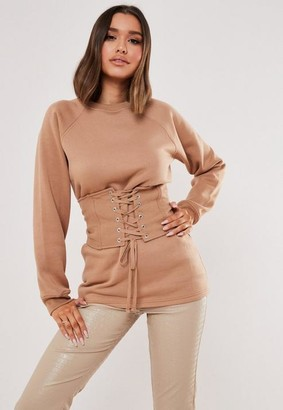 Missguided Sand Corset Detail Sweatshirt