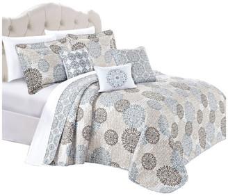Serenta Marina Medallion Quilted 6-Piece Bed Spread Set, Dark Gray/Gra