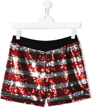Msgm Kids TEEN sequin striped shorts