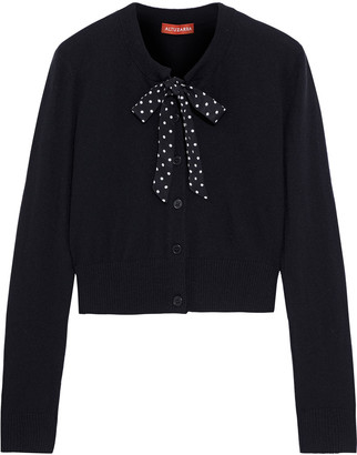 Altuzarra Pussy-bow Crepe De Chine-trimmed Wool And Cashmere-blend Cardigan