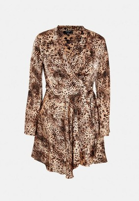 Missguided Size Brown Leopard Print Satin Flare Sleeve Mini Dress