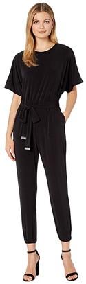 MICHAEL Michael Kors Solid Short Sleeve Dolman Jumpsuit (Black) Women's Jumpsuit & Rompers One Piece