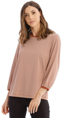 Piper Striped Bubble Sleeve Solid Tee
