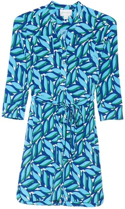 Donna Morgan Printed 3/4 Sleeve Stretch Jersey Shirt Dress