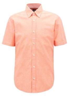 Short-sleeved slim-fit shirt in cotton and linen