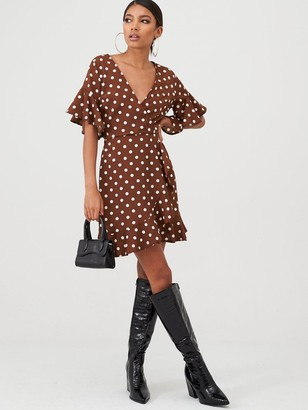 AX Paris Polka Dot Wrap Dress - Brown