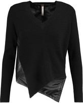 Soyer Asymmetric leather and ribbed-knit wool-blend sweater