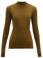 Bottega Veneta Wide-rib Knitted Wool-blend Sweater - Womens - Dark Green