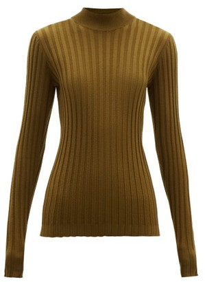 Bottega Veneta Wide-rib Knitted Wool-blend Sweater - Dark Green