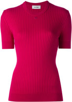 Courreges short-sleeve round neck knit top - women - Cotton/Cashmere - 3