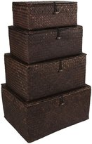 Twos Company Two's Company Handmade Dark Brown Hinged Boxes - Set of 4 - Large