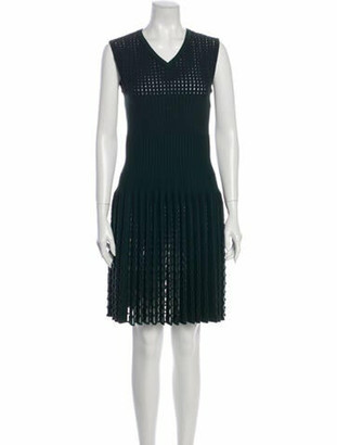 Alaia V-Neck Knee-Length Dress Green