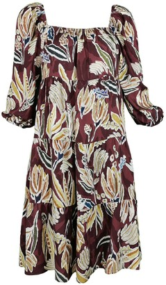 Lalipop Design Knee-Length Boho Style Dress Brown