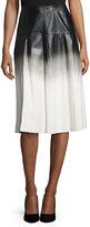 Lafayette 148 New York Jessa Ombre Leather Skirt, Black Multi