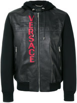 Versace hooded bomber jacket - men - Cotton/Lamb Skin/Spandex/Elastane/Viscose - 48