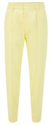 HUGO BOSS Cotton tapered-fit trousers with zip-detail cuffed hems