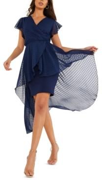 Quiz Overlay High Low Wrap Dress