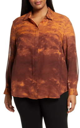 Lafayette 148 New York Zora Sunset Sky Print Silk Blouse