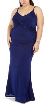 City Studios Trendy Plus Size Twist-Center Gown
