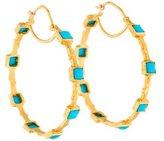 Cathy Waterman 22K Turquoise Hoop Earrings