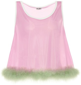 Miu Miu Feather-trimmed jersey top