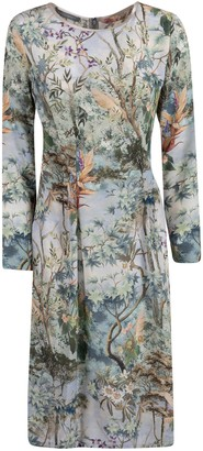 Alberta Ferretti Forest Printed Long Dress
