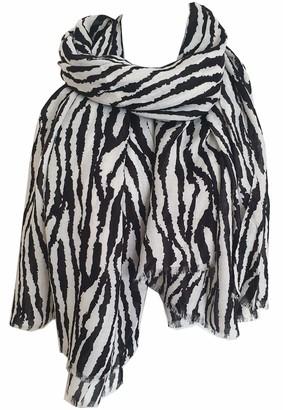 GlamLondon Women's Zebra Print Scarf Animal Stripes Multi Purpose Wrap (Black N White)