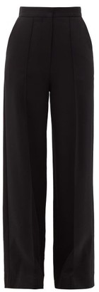 Raey Pintucked High-rise Wool-blend Trousers - Womens - Black