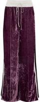 Off-White Satin-trimmed Crushed-velvet Track Pants - Grape