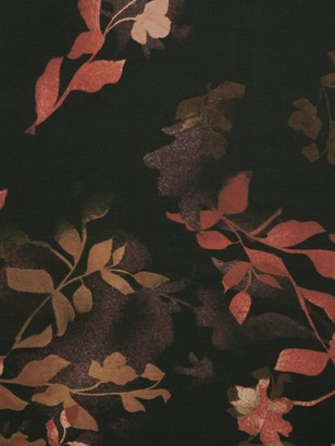 John Kaldor Leaf Floral Print Fabric, Black