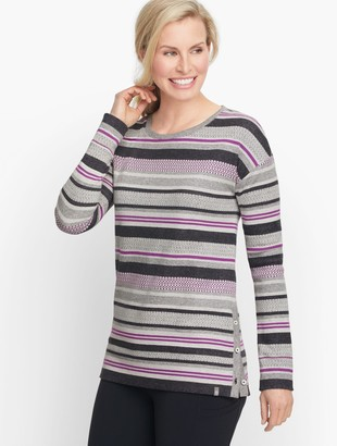 Talbots Mixed Stripe Button Detail Pullover